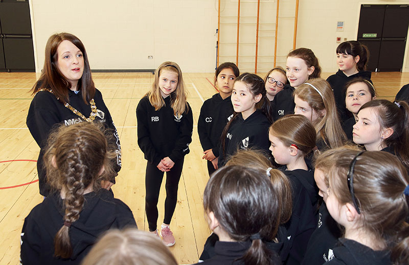 Belfast lord Mayor with Pupils at Youth Lyric