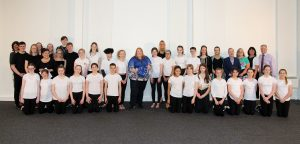 Naomi Long MEP with students, staff and guests